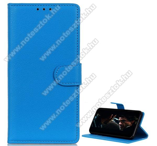 WALLET notesz tok / flip tok - VILÁGOSKÉK - asztali tartó funkciós, oldalra nyíló, rejtett mágneses záródás, bankkártyatartó zseb, szilikon belső - SAMSUNG Galaxy A21 (SM-A210F)