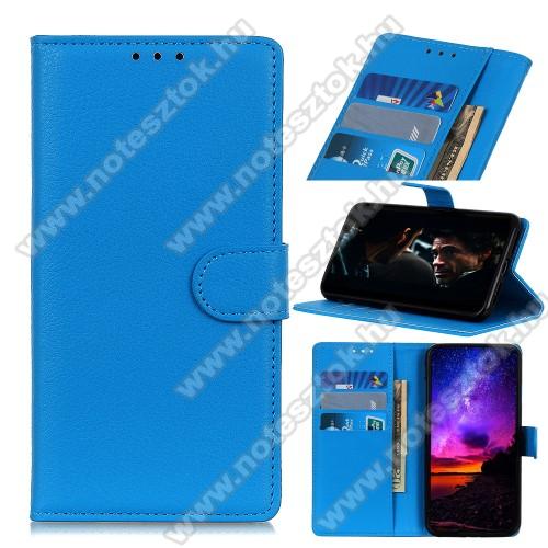 WALLET notesz tok / flip tok - VILÁGOSKÉK - asztali tartó funkciós, oldalra nyíló, rejtett mágneses záródás, bankkártyatartó zseb, szilikon belső - SAMSUNG Galaxy A41 (SM-A415F)