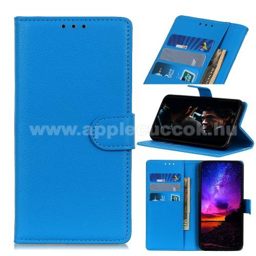 WALLET notesz tok / flip tok - VILÁGOSKÉK - asztali tartó funkciós, oldalra nyíló, rejtett mágneses záródás, bankkártyatartó zseb, szilikon belső - Xiaomi Redmi Note 9S / Redmi Note 9 Pro / Redmi Note 9 Pro Max / Poco M2 Pro
