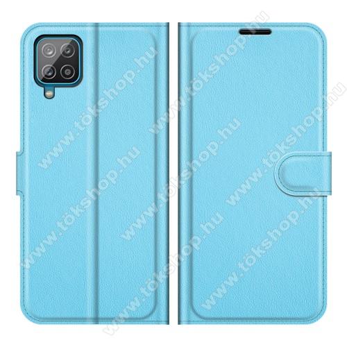 WALLET notesz tok / flip tok - VILÁGOSKÉK - asztali tartó funkciós, oldalra nyíló, rejtett mágneses záródás, bankkártyatartó zseb, szilikon belső - SAMSUNG Galaxy A22 (SM-A225F)