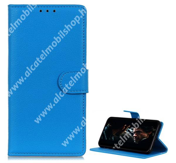 WALLET notesz tok / flip tok - VILÁGOSKÉK - asztali tartó funkciós, oldalra nyíló, rejtett mágneses záródás, bankkártyatartó zseb, szilikon belső - HUAWEI P40 Pro Plus 5G