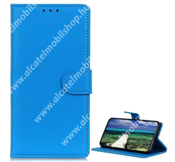WALLET notesz tok / flip tok - VILÁGOSKÉK - asztali tartó funkciós, oldalra nyíló, rejtett mágneses záródás, bankkártyatartó zseb, szilikon belső - APPLE iPhone 13 Pro Max