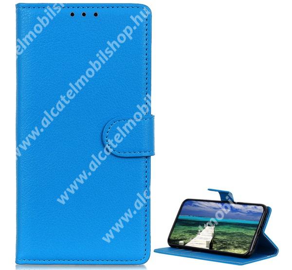 WALLET notesz tok / flip tok - VILÁGOSKÉK - asztali tartó funkciós, oldalra nyíló, rejtett mágneses záródás, bankkártyatartó zseb, szilikon belső - APPLE iPhone 13 Pro