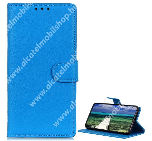 WALLET notesz tok / flip tok - VILÁGOSKÉK - asztali tartó funkciós, oldalra nyíló, rejtett mágneses záródás, bankkártyatartó zseb, szilikon belső - APPLE iPhone 13 mini