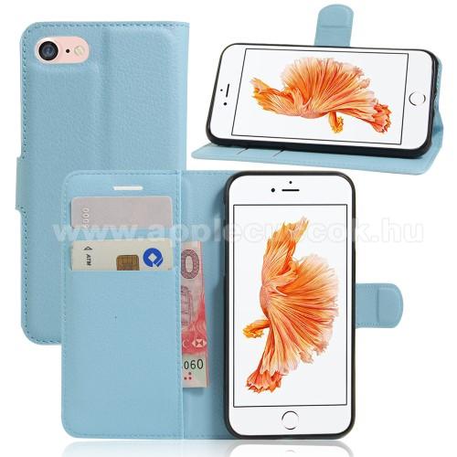 WALLET notesz tok / flip tok - VILÁGOSKÉK - asztali tartó funkciós, oldalra nyíló, rejtett mágneses záródás, bankkártyatartó zseb, szilikon belső - APPLE iPhone 7 (4.7) / APPLE iPhone 8 (4.7)