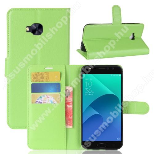 WALLET notesz tok / flip tok - ZÖLD - asztali tartó funkciós, oldalra nyíló, rejtett mágneses záródás, bankkártyatartó zseb, szilikon belső - ASUS Zenfone 4 Selfie Pro (ZD552KL)