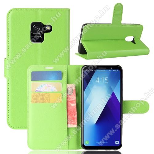 WALLET notesz tok / flip tok - ZÖLD - asztali tartó funkciós, oldalra nyíló, rejtett mágneses záródás, bankkártyatartó zseb, szilikon belső - SAMSUNG SM-A730F Galaxy A8 Plus (2018)