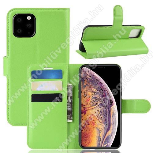 WALLET notesz tok / flip tok - ZÖLD - asztali tartó funkciós, oldalra nyíló, rejtett mágneses záródás, bankkártyatartó zseb, szilikon belső - APPLE iPhone 11 Pro Max