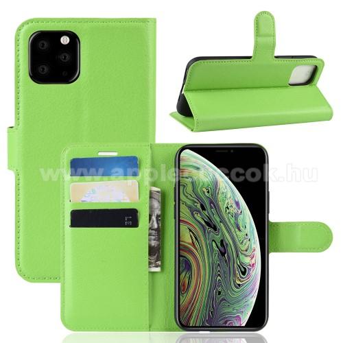 WALLET notesz tok / flip tok - ZÖLD - asztali tartó funkciós, oldalra nyíló, rejtett mágneses záródás, bankkártyatartó zseb, szilikon belső - APPLE iPhone 11 Pro