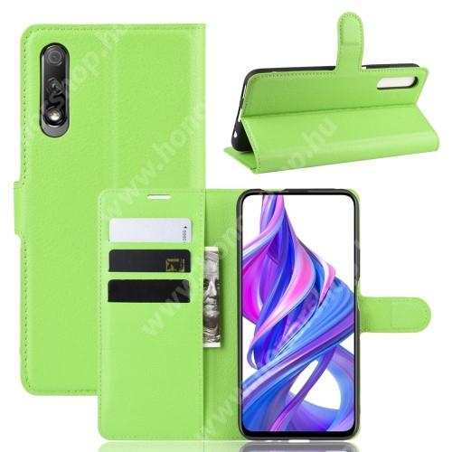 HUAWEI Honor 9X (For China market)WALLET notesz tok / flip tok - ZÖLD - asztali tartó funkciós, oldalra nyíló, rejtett mágneses záródás, bankkártyatartó zseb, szilikon belső - HUAWEI P smart Pro (2019) / HUAWEI Y9s / Honor 9X (For China market) / Honor 9X Pro (For China)