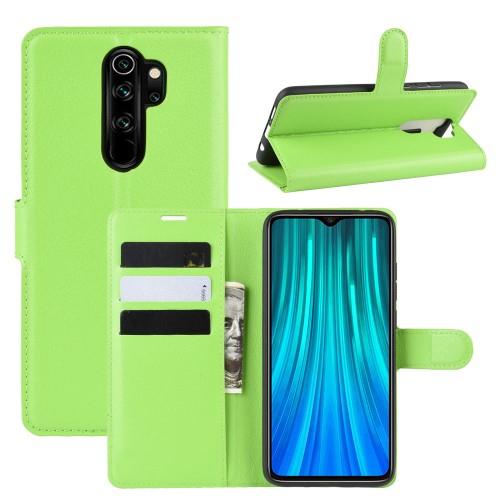 WALLET notesz tok / flip tok - ZÖLD - asztali tartó funkciós, oldalra nyíló, rejtett mágneses záródás, bankkártyatartó zseb, szilikon belső - Xiaomi Redmi Note 8 Pro