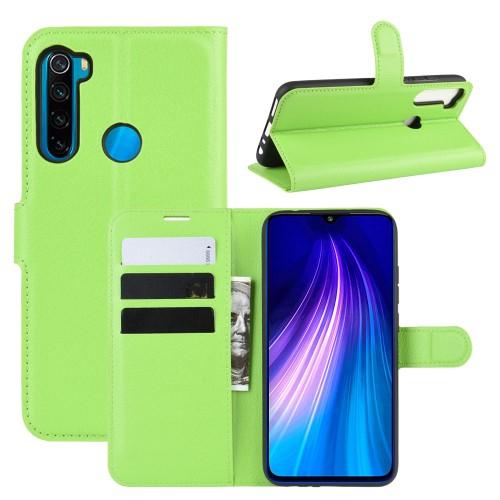 WALLET notesz tok / flip tok - ZÖLD - asztali tartó funkciós, oldalra nyíló, rejtett mágneses záródás, bankkártyatartó zseb, szilikon belső - Xiaomi Redmi Note 8