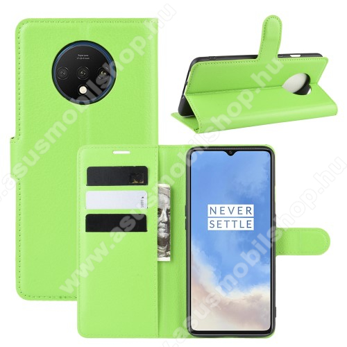 WALLET notesz tok / flip tok - ZÖLD - asztali tartó funkciós, oldalra nyíló, rejtett mágneses záródás, bankkártyatartó zseb, szilikon belső - OnePlus 7T