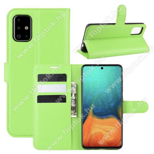 WALLET notesz tok / flip tok - ZÖLD - asztali tartó funkciós, oldalra nyíló, rejtett mágneses záródás, bankkártyatartó zseb, szilikon belső - SAMSUNG Galaxy A71 (SM-A715F)