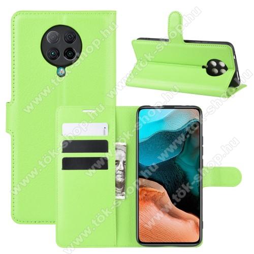 WALLET notesz tok / flip tok - ZÖLD - asztali tartó funkciós, oldalra nyíló, rejtett mágneses záródás, bankkártyatartó zseb, szilikon belső - Xiaomi Redmi K30 Pro / Xiaomi Redmi K30 Pro Zoom / Xiaomi Poco F2 Pro