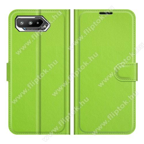 WALLET notesz tok / flip tok - ZÖLD - asztali tartó funkciós, oldalra nyíló, rejtett mágneses záródás, bankkártyatartó zseb, szilikon belső - ASUS ROG Phone 5 / ROG Phone 5 Pro / ROG Phone 5 Ultimate