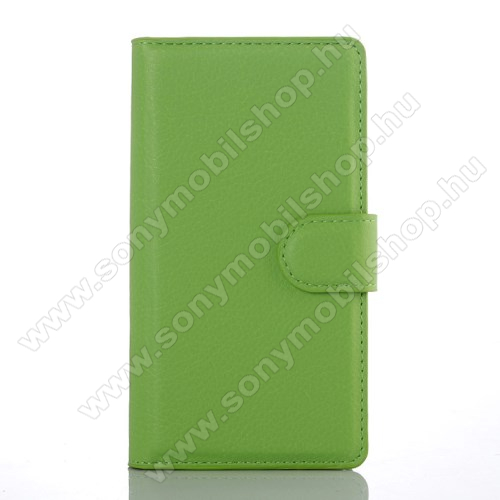 WALLET notesz tok / flip tok - ZÖLD - asztali tartó funkciós, oldalra nyíló, rejtett mágneses záródás, bankkártyatartó zseb - SONY Xperia Z5 Compact