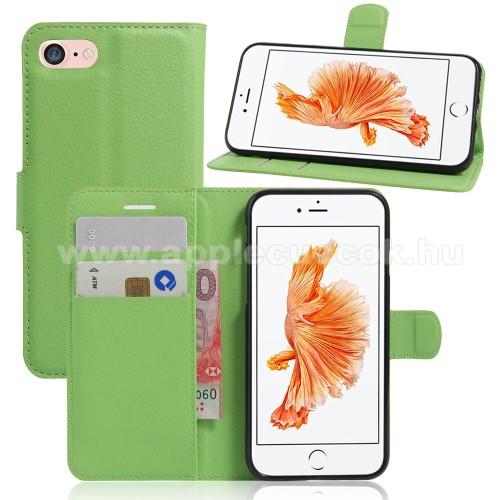 WALLET notesz tok / flip tok - ZÖLD - asztali tartó funkciós, oldalra nyíló, rejtett mágneses záródás, bankkártyatartó zseb, szilikon belső - APPLE iPhone 7 (4.7)