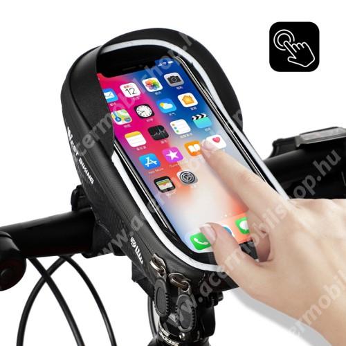 ACER C510 WEST BIKING UNIVERZÁLIS biciklis / kerékpáros tartó konzol mobiltelefon készülékekhez - cseppálló védő tokos kialakítás, cipzár, kormányra rögzíthető, napellenző, 170 x 80 x 95mm - FEKETE