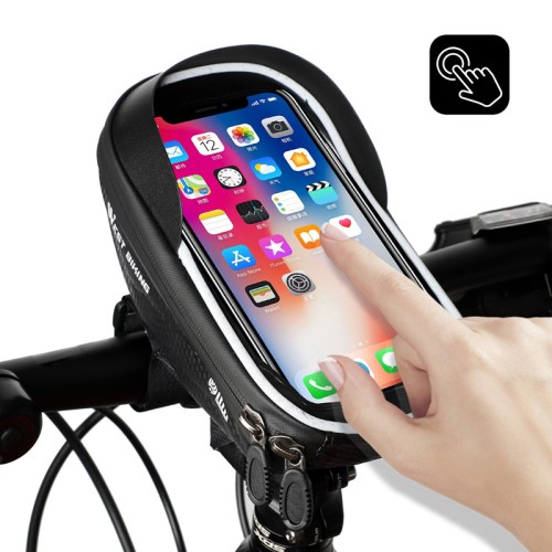 WEST BIKING UNIVERZÁLIS biciklis / kerékpáros tartó konzol mobiltelefon készülékekhez - cseppálló védő tokos kialakítás, cipzár, kormányra rögzíthető, napellenző, 170 x 80 x 95mm - FEKETE
