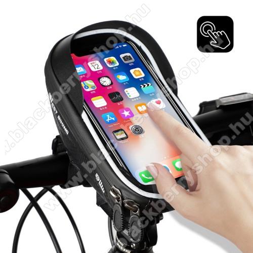 BLACKBERRY 8700gWEST BIKING UNIVERZÁLIS biciklis / kerékpáros tartó konzol mobiltelefon készülékekhez - cseppálló védő tokos kialakítás, cipzár, kormányra rögzíthető, napellenző, 170 x 80 x 95mm - FEKETE