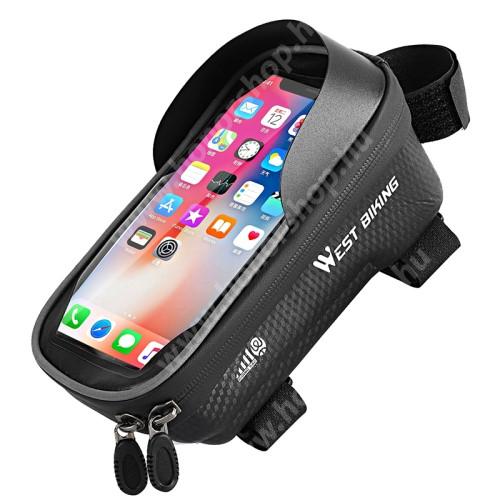 HUAWEI Honor V40 5G WEST BIKING UNIVERZÁLIS biciklis / kerékpáros tartó konzol mobiltelefon készülékekhez - cseppálló védő tokos kialakítás, cipzár, vázra rögzíthető, napellenző, 175 x 90 x 50mm - FEKETE