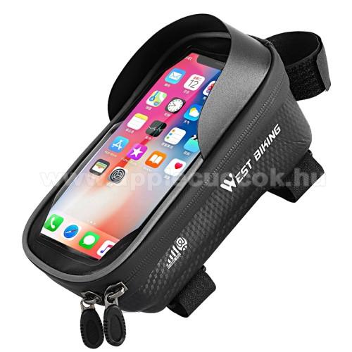 APPLE iPhone 3GSWEST BIKING UNIVERZÁLIS biciklis / kerékpáros tartó konzol mobiltelefon készülékekhez - cseppálló védő tokos kialakítás, cipzár, vázra rögzíthető, napellenző, 235 x 105 x 205mm - FEKETE