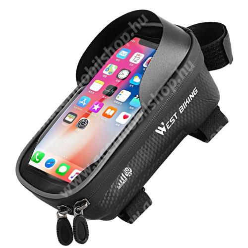 ACER N311 WEST BIKING UNIVERZÁLIS biciklis / kerékpáros tartó konzol mobiltelefon készülékekhez - cseppálló védő tokos kialakítás, cipzár, vázra rögzíthető, napellenző, 235 x 105 x 205mm - FEKETE