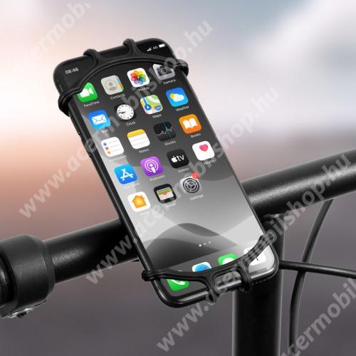 ACER Liquid Z3 WEST BIKING UNIVERZÁLIS biciklis / kerékpáros tartó konzol mobiltelefon készülékekhez - FEKETE - 360°-ban forgatható, kormányra rögzíthető, szilikon, 65mm x 125mm
