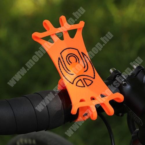 Jolla Jolla C WEST BIKING UNIVERZÁLIS biciklis / kerékpáros tartó konzol mobiltelefon készülékekhez - NARANCSSÁRGA - 360°-ban forgatható, kormányra rögzíthető, szilikon, 65mm x 125mm