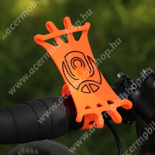 ACER Liquid Z3 WEST BIKING UNIVERZÁLIS biciklis / kerékpáros tartó konzol mobiltelefon készülékekhez - NARANCSSÁRGA - 360°-ban forgatható, kormányra rögzíthető, szilikon, 65mm x 125mm
