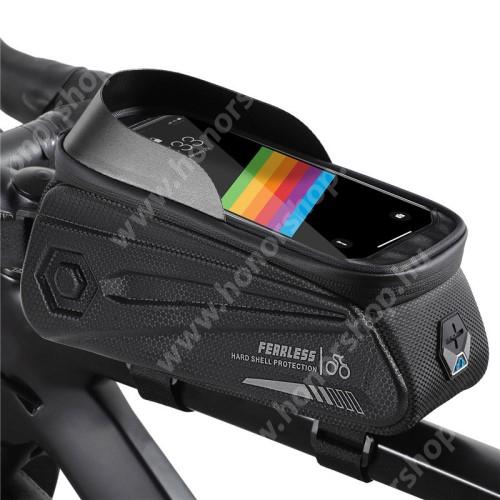 HUAWEI Honor V40 5G WEST BIKING UNIVERZÁLIS biciklis / kerékpáros tartó konzol mobiltelefon készülékekhez - cseppálló védő tokos kialakítás, cipzár, fülhallgató kivezető nyílás, vázra rögzíthető, EVA, hálós zseb, napellenző, 240 x 90 x 145mm - FEKETE