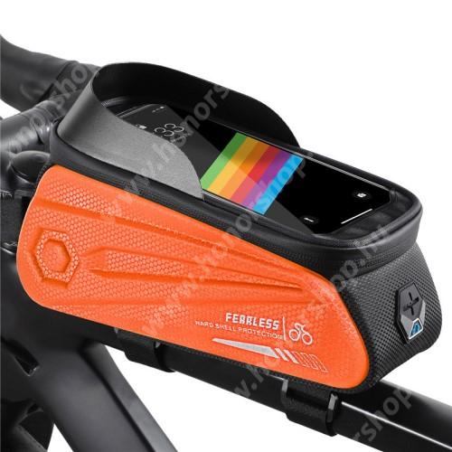 HUAWEI Honor V40 5G WEST BIKING UNIVERZÁLIS biciklis / kerékpáros tartó konzol mobiltelefon készülékekhez - cseppálló védő tokos kialakítás, cipzár, fülhallgató kivezető nyílás, vázra rögzíthető, EVA, hálós zseb, napellenző, 240 x 90 x 145mm - NARANCSSÁRGA / FEKETE