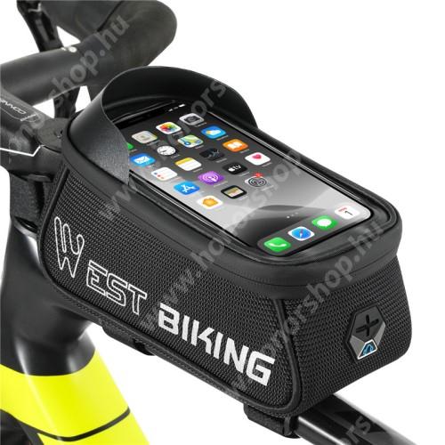 HUAWEI Honor V40 5G WEST BIKING UNIVERZÁLIS biciklis / kerékpáros tartó konzol mobiltelefon készülékekhez - cseppálló védő tokos kialakítás, fényvisszaverő logo, cipzár, fülhallgató nyílás, vázra rögzíthető, EVA, 175mm-es ablak, 1.5L-es tároló, napellenző, 215 x 90 x 100mm