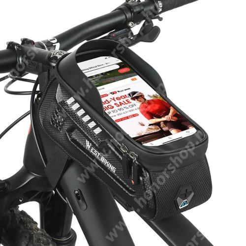 HUAWEI Honor V40 5G WEST BIKING UNIVERZÁLIS biciklis / kerékpáros tartó konzol mobiltelefon készülékekhez - cseppálló védő tokos kialakítás, cipzár, fülhallgató kivezető nyílás, vázra rögzíthető, EVA, hálós zseb, 1.8L tároló kapacitás, napellenző, 240 x 110 x 80mm - FEKETE