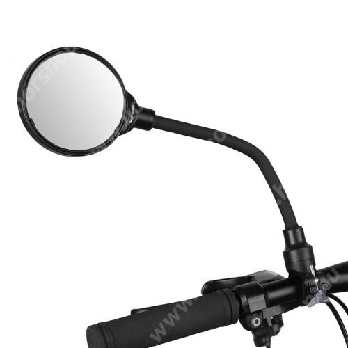 HUAWEI Honor V40 5G WEST BIKING UNIVERZÁLIS motoros / biciklis visszapillantó tükör - alumínium, 22mm alatti kormányátmérőhöz alkalmas, teljes hossz: 37,5 cm, tükör átmérője: 8.5cm - FEKETE