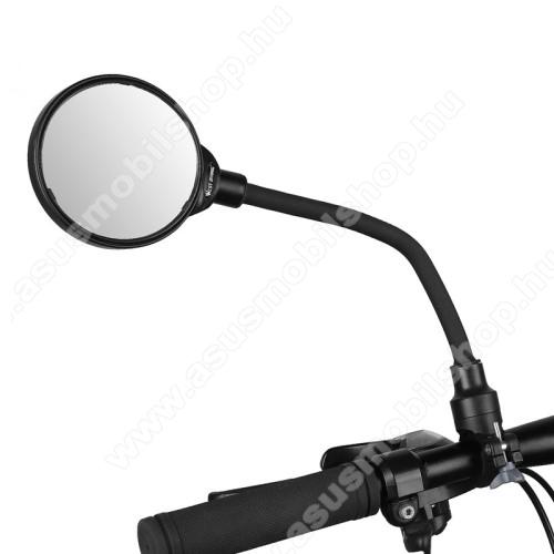 WEST BIKING UNIVERZÁLIS motoros / biciklis visszapillantó tükör - alumínium, 22mm alatti kormányátmérőhöz alkalmas, teljes hossz: 37,5 cm, tükör átmérője: 8.5cm - FEKETE