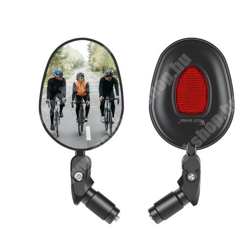 PRESTIGIO MultiPad 8.0 PRO DUO WEST BIKING UNIVERZÁLIS motoros / biciklis visszapillantó tükör - 1db, fényvisszaverő macskaszem, 360°-ban forgatható, tükröződésmentes, kormányvégre rögzíthető, 17.4-22mm belső átmérőjű kormányhoz alkalmas, hosszúság: 16cm, tükör átmérője: 7cm - FEKETE