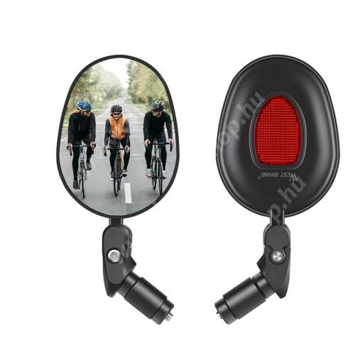 HUAWEI Honor V40 5G WEST BIKING UNIVERZÁLIS motoros / biciklis visszapillantó tükör - 1db, fényvisszaverő macskaszem, 360°-ban forgatható, tükröződésmentes, kormányvégre rögzíthető, 17.4-22mm belső átmérőjű kormányhoz alkalmas, hosszúság: 16cm, tükör átmérője: 7cm - FEKETE