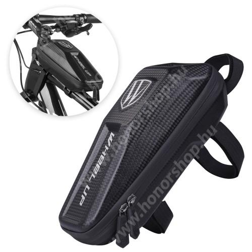 HUAWEI Honor V40 5G WHEEL UP EVA UNIVERZÁLIS biciklis / kerékpáros táska - vázra rögzíthető, tépőzáras, cseppálló védő tokos kialakítás, cipzáros, belső hálos zsebek - FEKETE - 240 x 100 x 80 mm