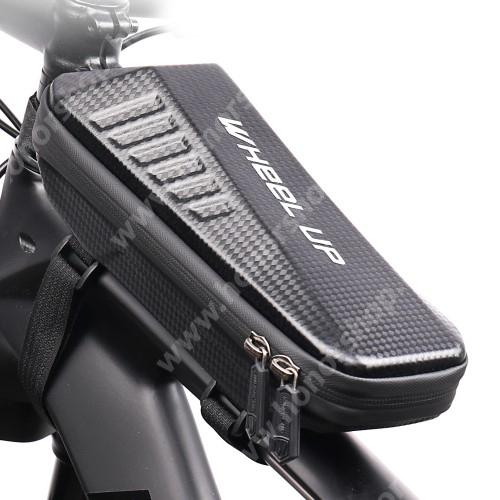 HUAWEI Honor V40 5G WHEEL UP EVA UNIVERZÁLIS biciklis / kerékpáros táska - vázra rögzíthető, tépőzáras, cseppálló védő tokos kialakítás, kétirányú cipzár, belső hálos zsebek - FEKETE - 240 x 100 x 80 mm