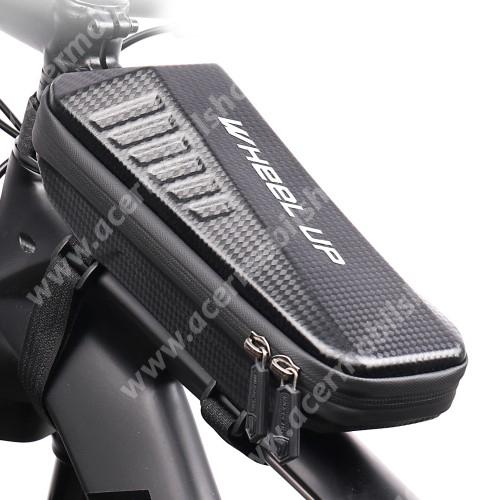 ACER Iconia Tab 8 A1-840FHD WHEEL UP EVA UNIVERZÁLIS biciklis / kerékpáros táska - vázra rögzíthető, tépőzáras, cseppálló védő tokos kialakítás, kétirányú cipzár, belső hálos zsebek - FEKETE - 240 x 100 x 80 mm
