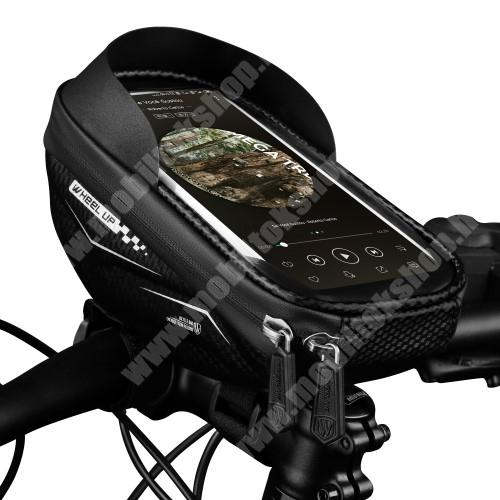"""LG G4c (H525N) WHEEL UP UNIVERZÁLIS biciklis / kerékpáros tartó konzol mobiltelefon készülékekhez - cseppálló védő tokos kialakítás, cipzár, tépőzáras, napellenző, 6.5""""-os készülékekhez ajánlott - FEKETE"""