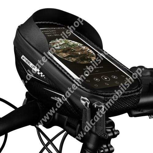 ALCATEL OT-6015X Fire E WHEEL UP UNIVERZÁLIS biciklis / kerékpáros tartó konzol mobiltelefon készülékekhez - cseppálló védő tokos kialakítás, cipzár, tépőzáras, napellenző, belső méret: 175mm x 80mm - FEKETE