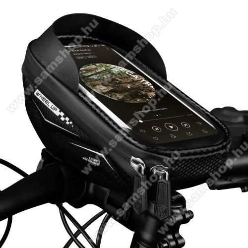 SAMSUNG SGH-F275WHEEL UP UNIVERZÁLIS biciklis / kerékpáros tartó konzol mobiltelefon készülékekhez - cseppálló védő tokos kialakítás, cipzár, tépőzáras, napellenző, 6.5