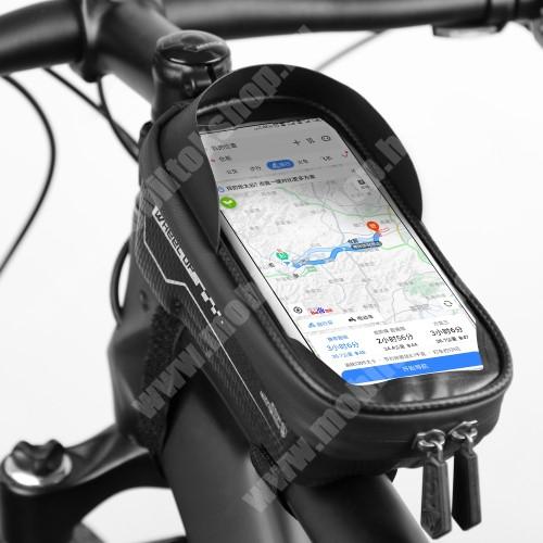 """ALCATEL A30 WHEEL UP UNIVERZÁLIS biciklis / kerékpáros tartó konzol mobiltelefon készülékekhez - cseppálló védő tokos kialakítás, cipzár, tépőzáras, napellenző, 6.5""""-os készülékekhez ajánlott - FEKETE"""