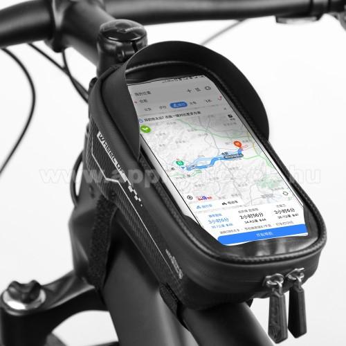 WHEEL UP UNIVERZÁLIS biciklis / kerékpáros tartó konzol mobiltelefon készülékekhez - cseppálló védő tokos kialakítás, cipzár, tépőzáras, napellenző, 6.5