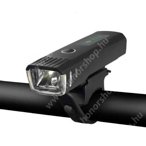HUAWEI Honor V40 5G WHEELUP UNIVERZÁLIS biciklis / kerékpáros lámpa - 4 fajta világítás, vízálló, kormányra rögzíthető, 1500mAh beépített akku, 9,9 x 3 x 2,3 cm - FEKETE
