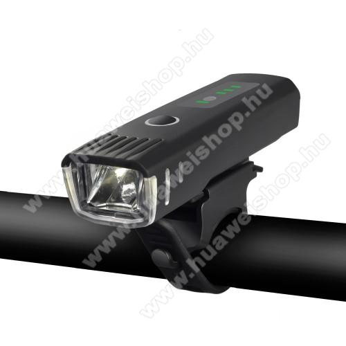 WHEELUP UNIVERZÁLIS biciklis / kerékpáros lámpa - 4 fajta világítás, vízálló, kormányra rögzíthető, 1500mAh beépített akku, 9,9 x 3 x 2,3 cm - FEKETE