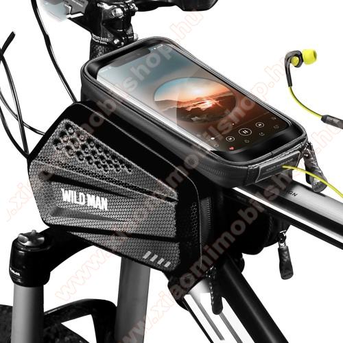 WILD MAN ES6 UNIVERZÁLIS biciklis / kerékpáros tartó konzol mobiltelefon készülékekhez - vázra rögzíthető, tépőzáras, cseppálló védő tokos kialakítás, cipzáros oldal táskák, fülhallgató nyílás - FEKETE - 200 x 105 x 33 mm, telefontartó ablak mérete: 160 x